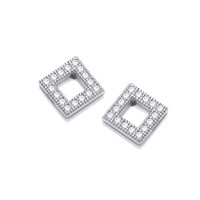 Cubic Zirconia Framed Square Earrings