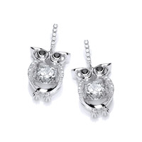 Cute CZ Owl with Dancing Stone Earrings