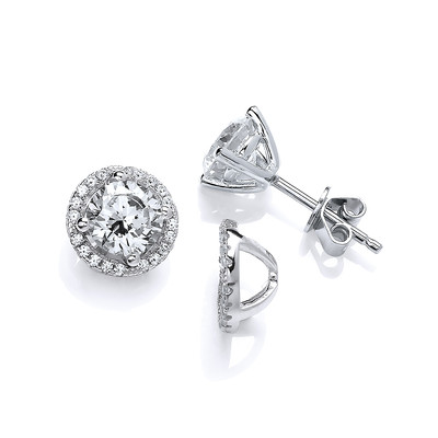 Cubic Zirconia Solitaire Earrings with Jacket