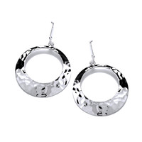 Round Hammered Silver Drop Earrings