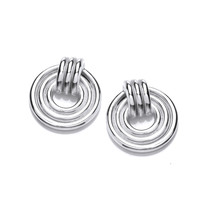 Silver Band Maze Earrings