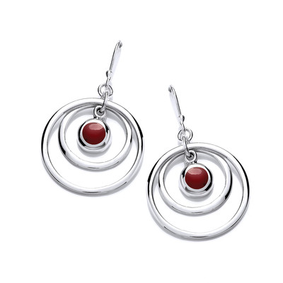Silver and Red Jasper Hoopla Earrings