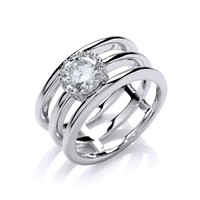 Silver Triple Band Ring with CZ Solitaire