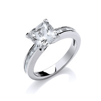 Princess Cut Cubic Zirconia and Silver Ring