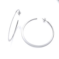 Sterling Silver Wafer-thin Large Hoops