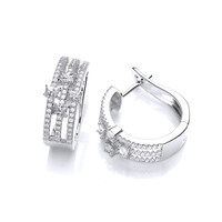 Cubic Zirconia Deco Style Hoop Earrings
