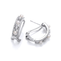 Cubic Zirconia and Pearl Art Deco Hoop Earrings