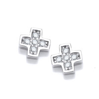 Cubic Zirconia Mini Crucifix Earrings