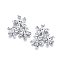 Cubic Zirconia Triple Flower Earrings