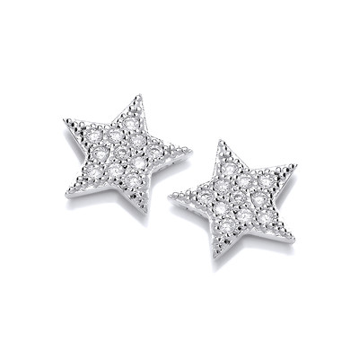 Cute Cubic Zirconia Star Earrings