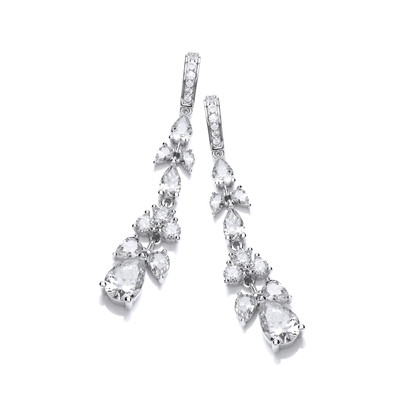 Cubic Zirconia Victorian Floral Earrings