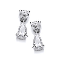 Cubic Zirconia Teardrop and Solitaire Earrings