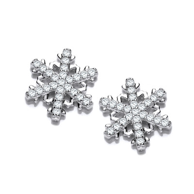 Cubic Zirconia Snowflake Earrings
