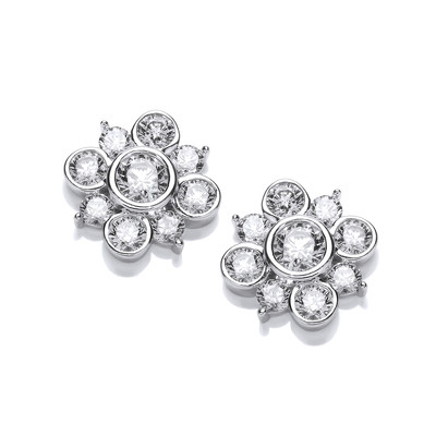 Cubic Zirconia Bubble Star Earrings