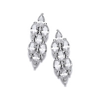 Cubic Zirconia Teardrop Cluster Earrings