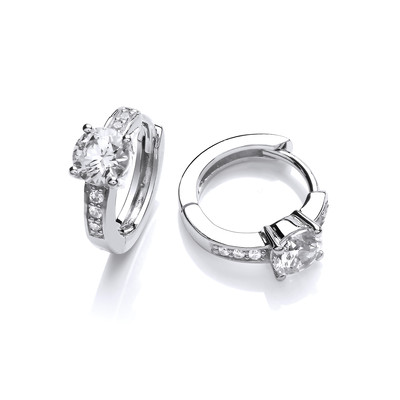 Little Cubic Zirconia Solitaire Huggie Hoop Earrings