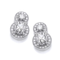 Double Cubic Zirconia Solitaire Earrings
