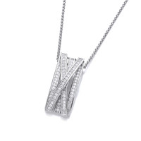 Silver and Cubic Zirconia Crossover Pendant