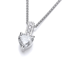 Cubic Zirconia Drop Heart Pendant