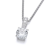 Mini CZ Solitaire Drop Pendant