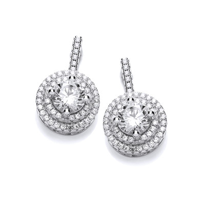 Cubic Zirconia Circled Solitiaire Earrings