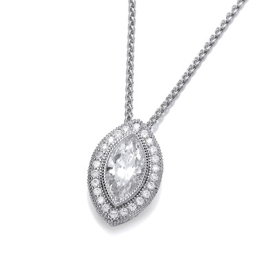 Deco Style Cubic Zirconia Marquise Pendant without Chain