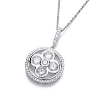 CZ Stylised Lucky Four Leaf Clover Pendant