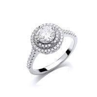 Cubic Zirconia Halo Solitaire Ring