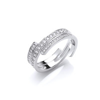 Cubic Zirconia Interlocking Band Ring