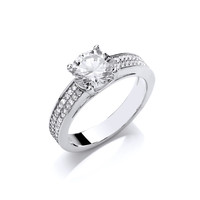 Cubic Zirconia Solitaire Ring with CZ Set Shoulders
