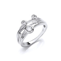 Cubic Zirconia Studded Silver Strand Ring