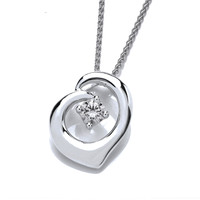 Simple Little Silver and CZ Heart Pendant
