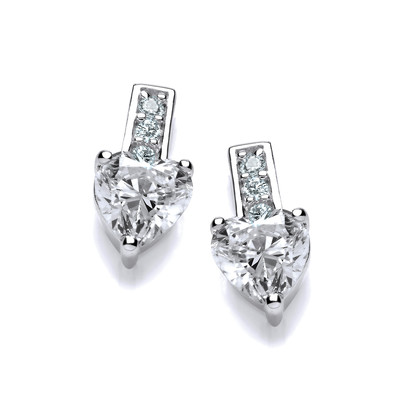 Cubic Zirconia Drop Heart Stud Earrings