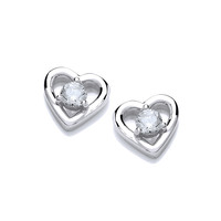 Cubic Zirconia Solitaire Heart Earrings