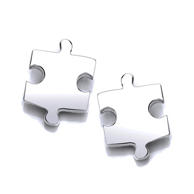 Silver Jigsaw Piece Earrings