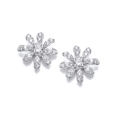 Cubic Zirconia & Silver Daisy Earrings