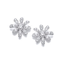 CZ and Sterling Silver Daisy Earrings