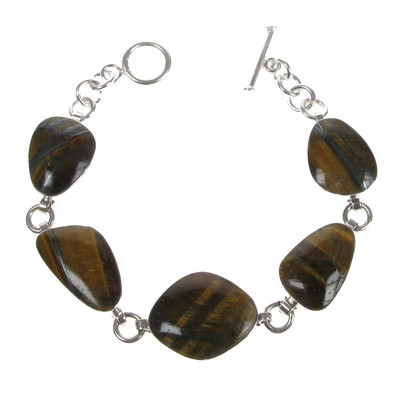 Sterling Silver and Tiger's Eye Small Abstract Bracelet