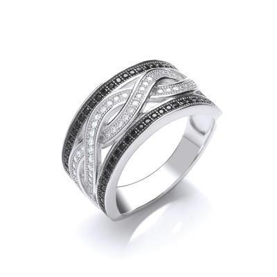 Black and Clear Cubic Zirconia Woven Ring