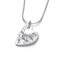 Crumpled Silver Heart Pendant