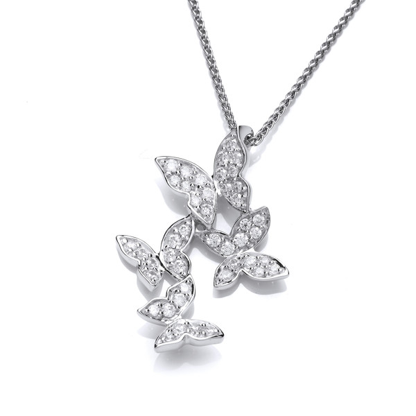 Cubic Zirconia and Sterling Silver Four Butterflies Pendant with 16 - 18 Silver Chain