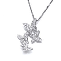Cubic Zirconia and Sterling Silver Four Butterflies Pendant