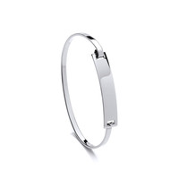 Silver Retro ID Clasp Bangle