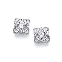 Silver and CZ Sunshine Earrings