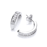 Silver and Channel Set Cubic Zirconia Half Hoop Earrings