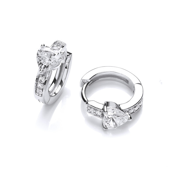 Silver and Cubic Zirconia Heart Solitaire Huggie Earrings