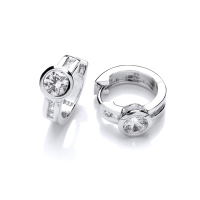Little Silver and Cubic Zirconia Huggie Hoop Earrings