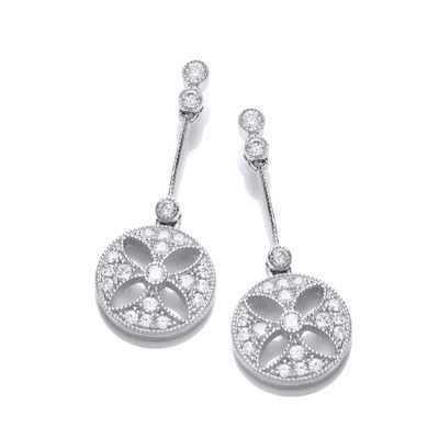 Silver and CZ Victorian Style Drop Earrings