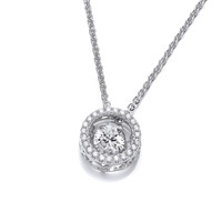CZ Dancing Stone Halo Necklace