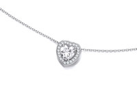 Silver and CZ Framed Heart Necklace